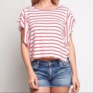 Cupcakes and Cashmere  striped crop top size small